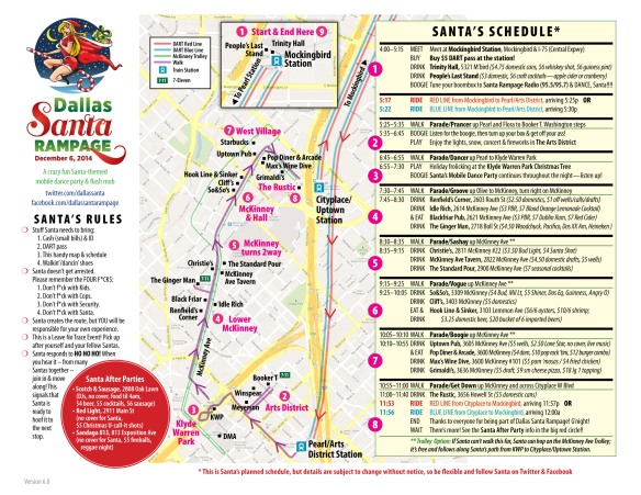 Dallas Santa Rampage 2014 route